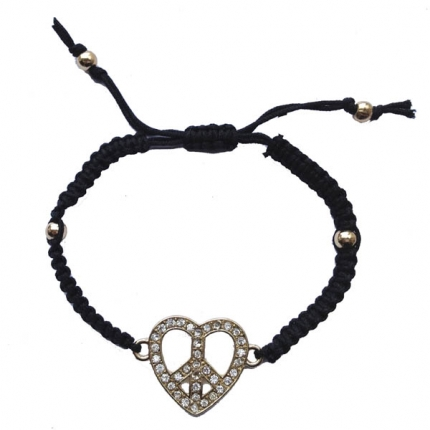 Diamante heart shaped peace mark friendship bracelet